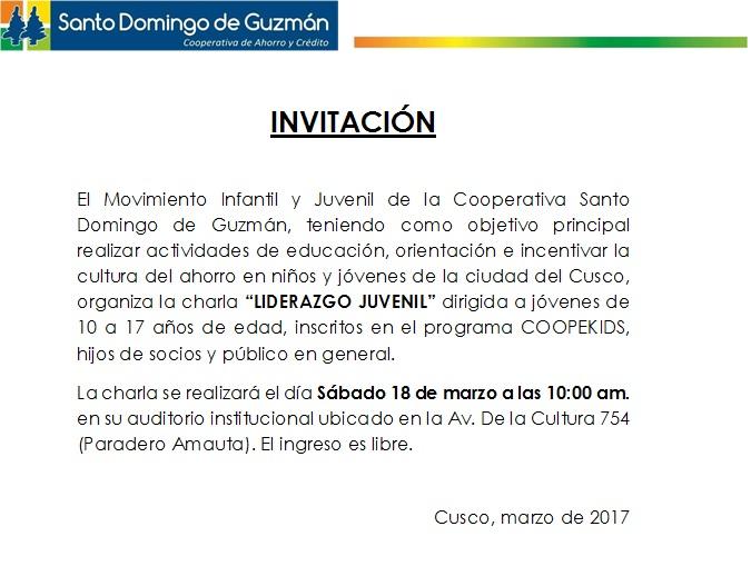 INVITACIÓN Charla Liderazgo Infantil COOPEINJU 18.03.17