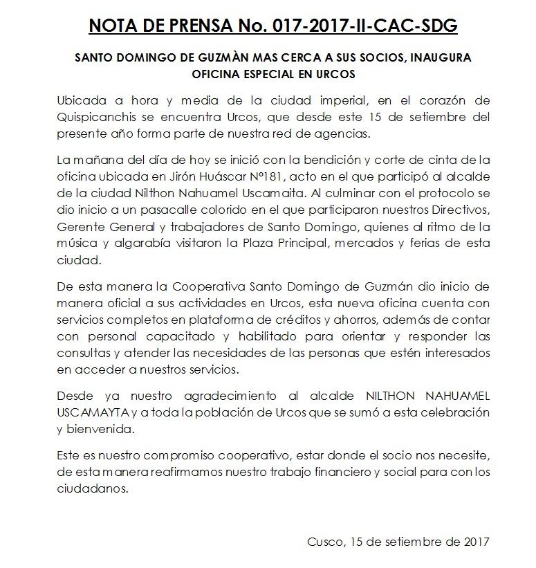 Inauguraciòn Oficina especial Urcos 2017