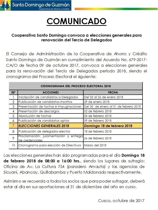 COMUNICADO Proceso Electoral 2018