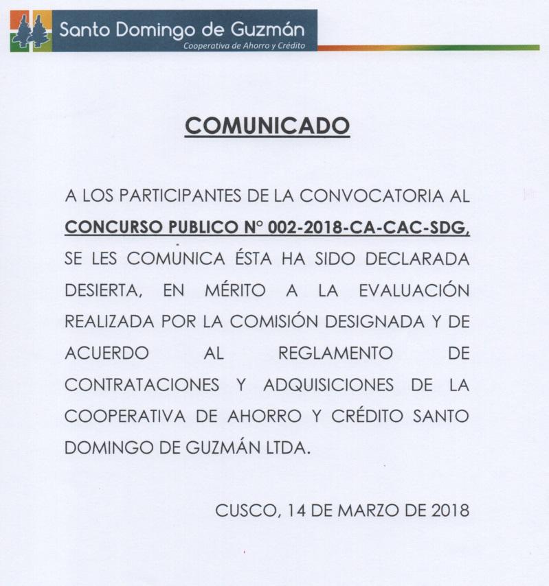 CONVOCATORIA DESIERTA AUDITORIA PROVISIONES