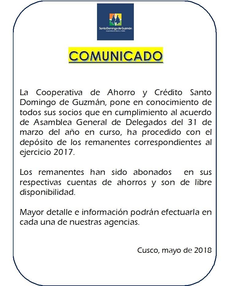 COMUNICADO Distribución de remanentes 2018