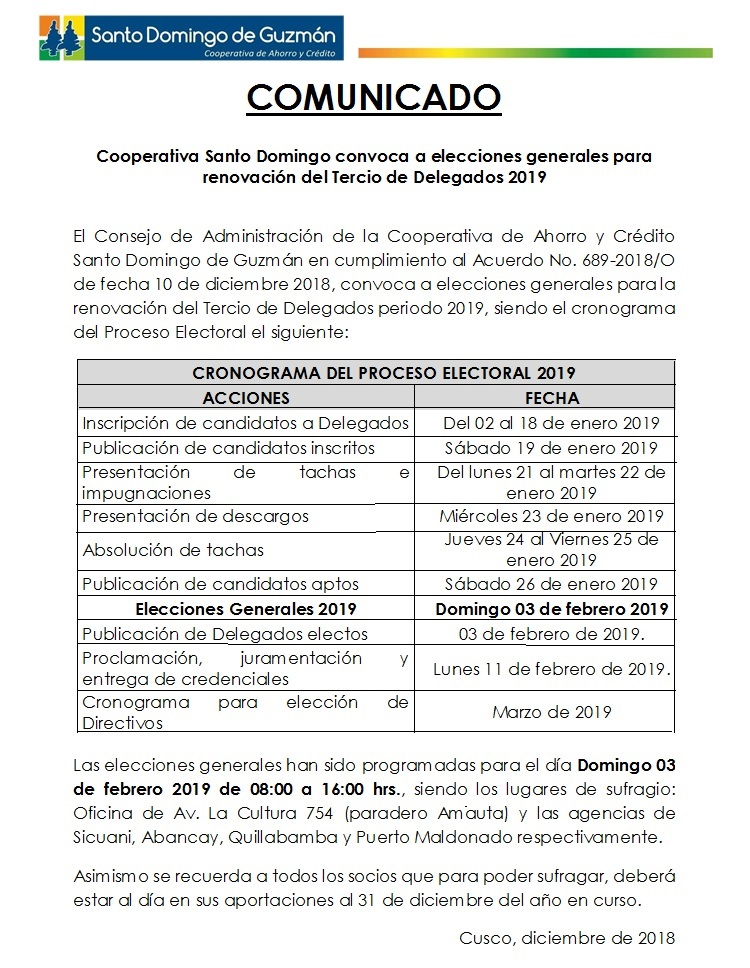 CRONOGRAMA PROCESO ELECTORAL 2019