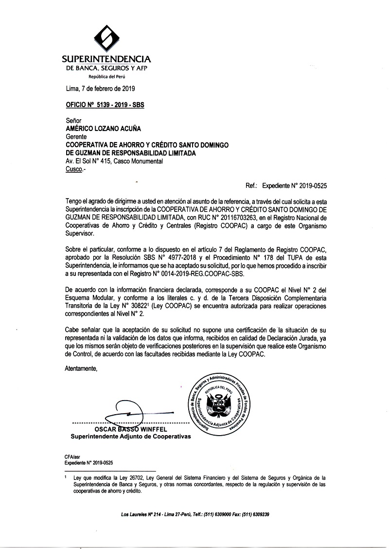 Oficio SBS Inscripción Coopac SDG
