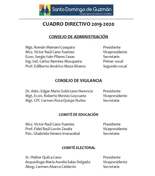 Cuadro directivo 2019-2020