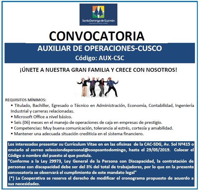 AUXILIAR DE OPERACIONES CUSCO