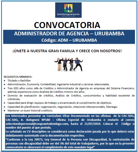 ADMINISTRADOR DE AGENCIA URUBAMBA