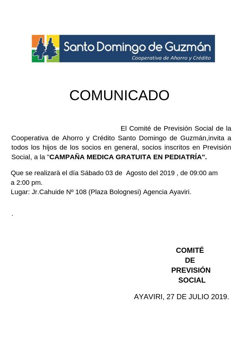 COMUNICADO  PREVISION SOCIAL