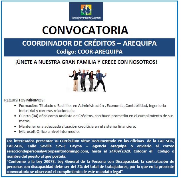 COORDINADOR DE CREDITOS AREQUIPA